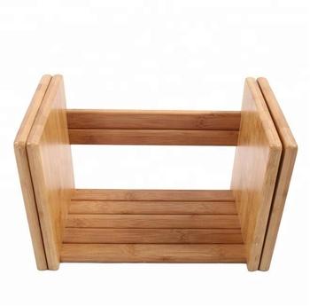 Modern Portable Collapsible Bamboo Wooden Kids Tree Bookshelf For Children