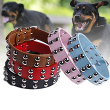 Studded Rivets Spiked Soft PU Leather Dog Pet Cute Collars