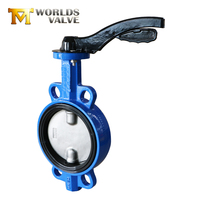 Cast iron rubber lining wafer type nylon coated butterfly valve price