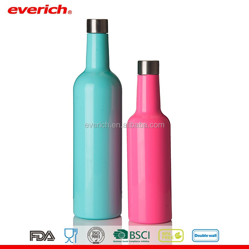 Wholesales Everich Pink double Wall stainless steel wine bottle 350/750ml