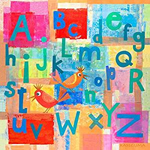 Oopsy daisy alphabet with kooky birds stretched canvas art by gale kaseguma, 14 by 14-inch by Oopsy Daisy