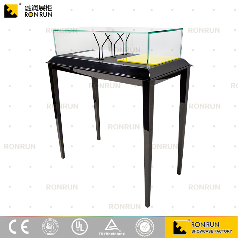 Luxury style black mirror polished stainless steel glass jewelry showroom interior display showcase furniture with LED light