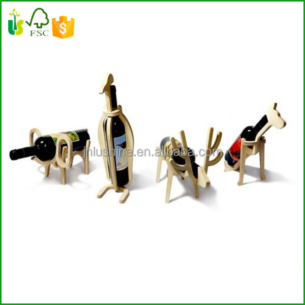 Doberman Dog Animal Bone Wine Rack Natural Design Wooden Bottle Holder