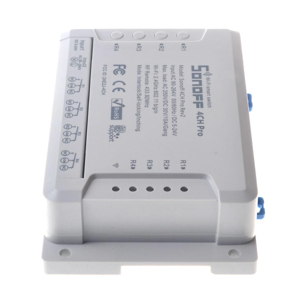 Sonoff 4ch Pro R2 4gang Inching/self-locking/interlock 433mhz Rf Wifi  Wireless Smart Switch For Light Home Automation - Buy Sonoff 4ch Pro  R2,Wifi