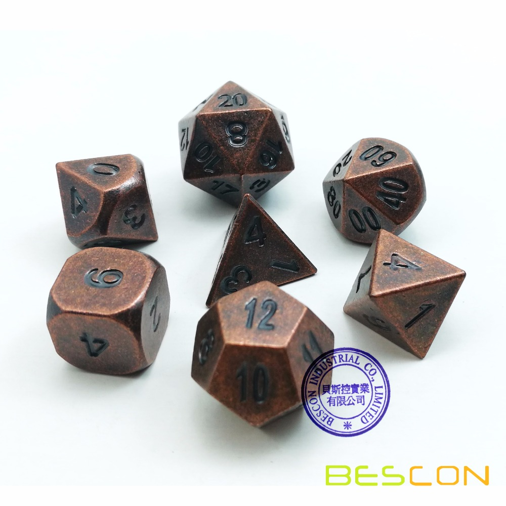 Bescon Antique Copper Solid Metal Polyhedral D&D Dice Set of 7 Old Copper Metal RPG Role Playing Game Dice 7pcs Set фото
