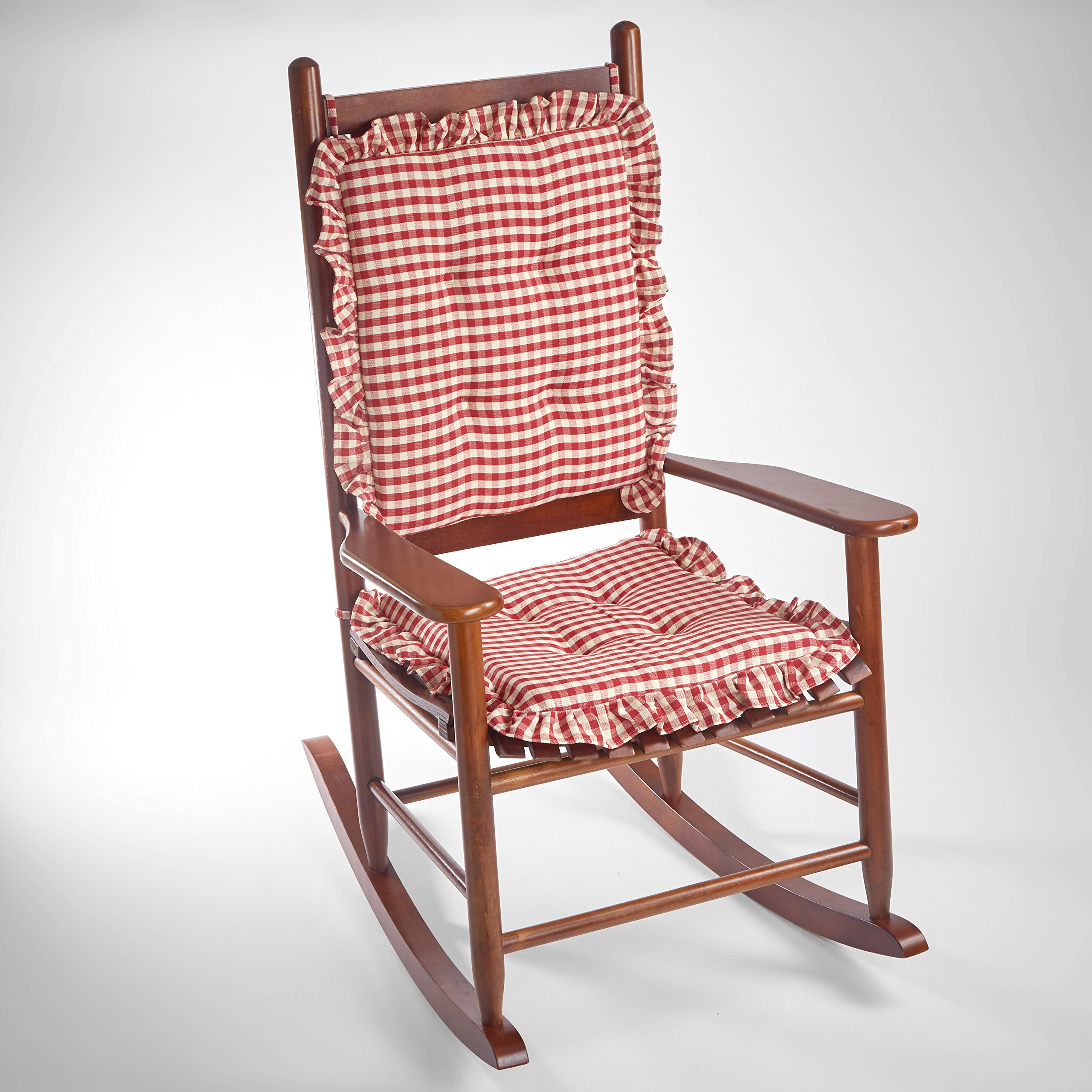 Charmant Get Quotations · Square Gingham Ruffle Rocking Chair Cushions (Red)