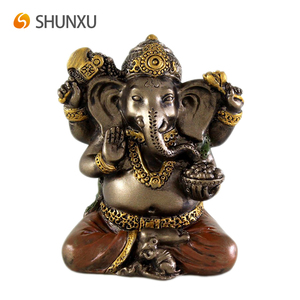 Mini Ganesh Hindu Elephant God of Success Figurine Good Protection Resin Bronze Finish with Color Accents Table Desk Decor