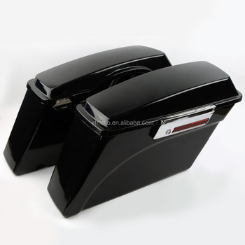 Vivid Black Hard Saddlebags +Lid Latch Key For Street Electra Glide 94-13