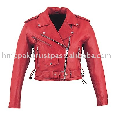 Hmb-0329e Women Leather Jackets Basic Biker Red Fashion Coats ...