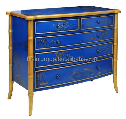 Luxury Victorian Style Sapphire Floral Painted Bombe Chest with Golden Legs BF11-08263e