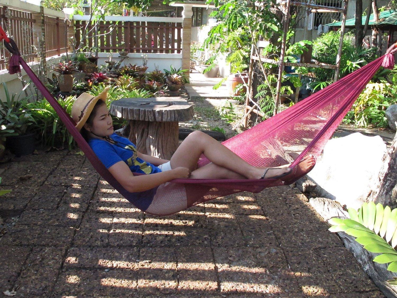 Portable Nylon Hang Mesh Net Outdoor Travel Camp Hammock Garden Sleeping Bed Size long 106 Inch.