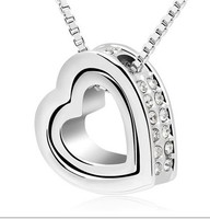 Wholesale CZ Diamond Crystal Necklaces Open Heart Pendants Silver Plated Fashion Crystal Party/Wedding Jewelry For Women