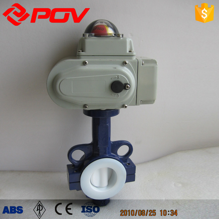 "4"" motorized medium pressure forged electric butterfly valve, fluorine lined valve"