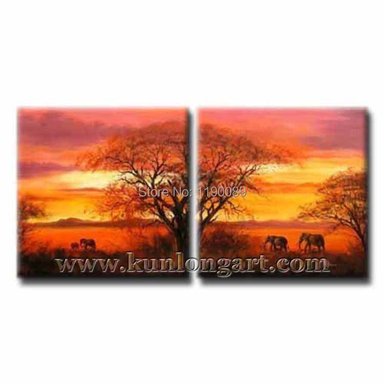 Free Shipping Framed 100% Handmade Landscape Painting On Canvas Modern Scenery Oil Painting 2 panels Wall Art Home Decoration