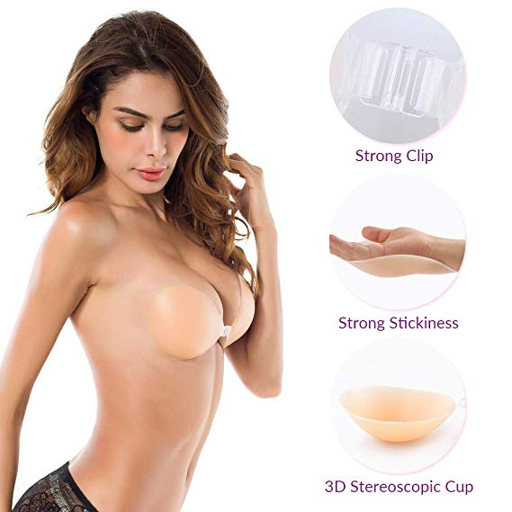 Push up A/B/C/D Sizes strapless Sexy Invisible Adhesive Nude Silicone Bra