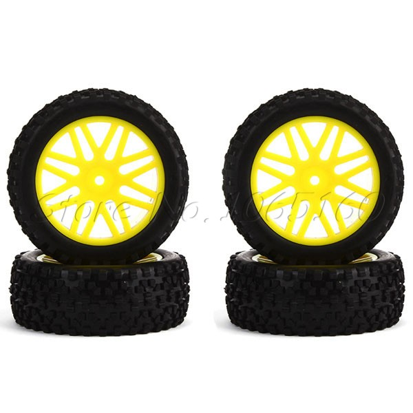 4 x RC 1:10 Off-Road Front Rear Yellow Mesh Shape Wheel Rim Rubber Tires