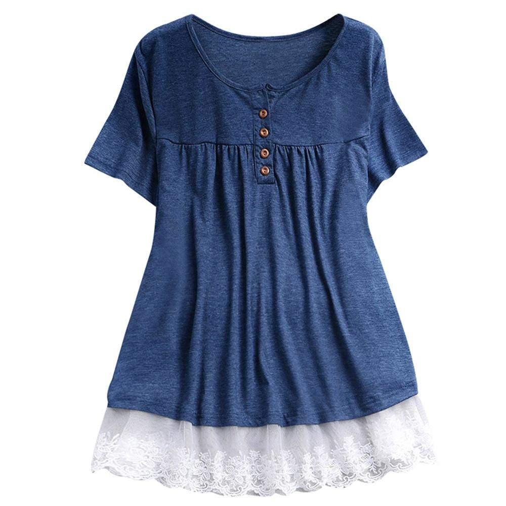 0f85f3cb9545 Women Blouse Daoroka Lace Button Short Sleeve Patchwork Floral O-Neck  Casual Loose