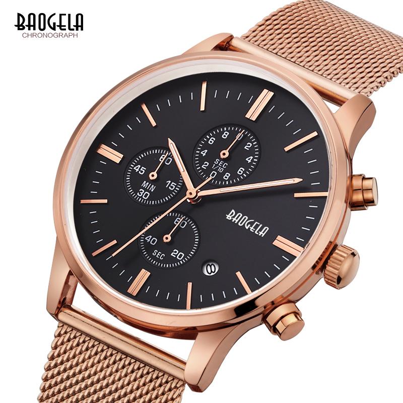 Baogela Brand Luxury Fashion Luminous Hand Male Business Date Wristwatch Stainless Steel Waterproof Men Chronograph Quartz Watch фото