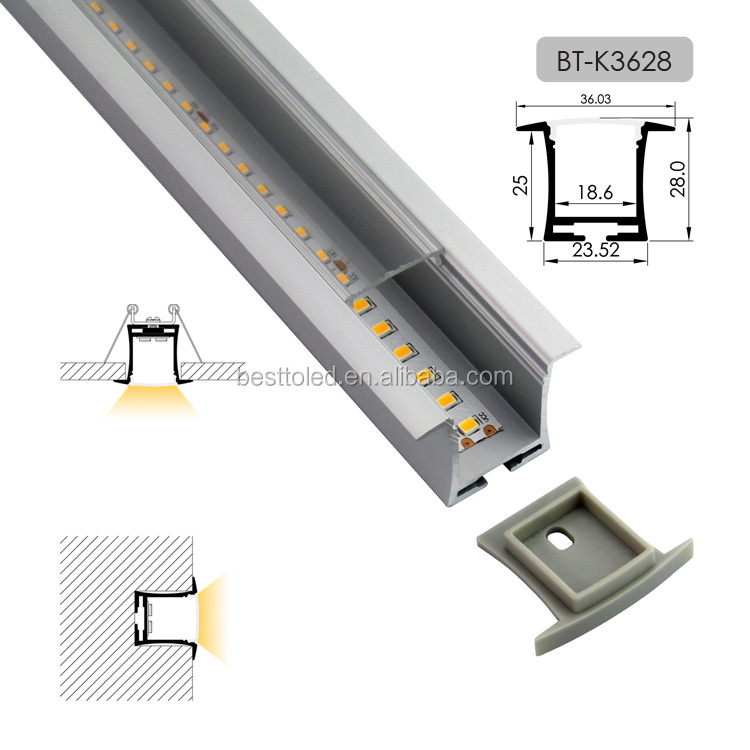 Factory supply fine anodized W36*H28mm recessed mounted LED aluminium profile LED extrusion for LED strips