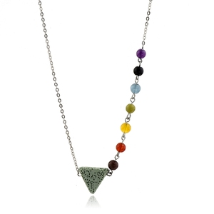 Fashion Jewelry 7 Chakra Natural Stone Bead With Triangle Lava Stone Essential Oil Diffuser Necklace