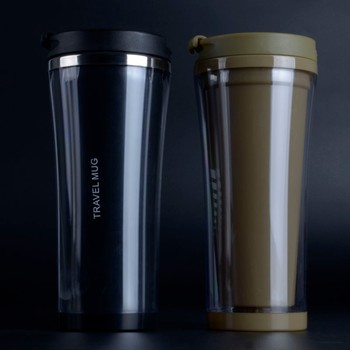 Pp Lid Clear Double Wall Plastic Travel Mug With Stainless Steel Inside