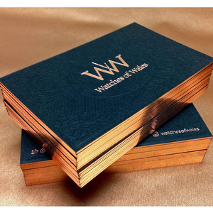 Art paper business cards with letterpress printing gold foil printing