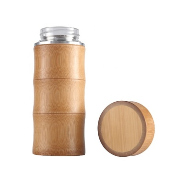 Custom company logo bamboo wood insulated water bottle with tea strainer and lid