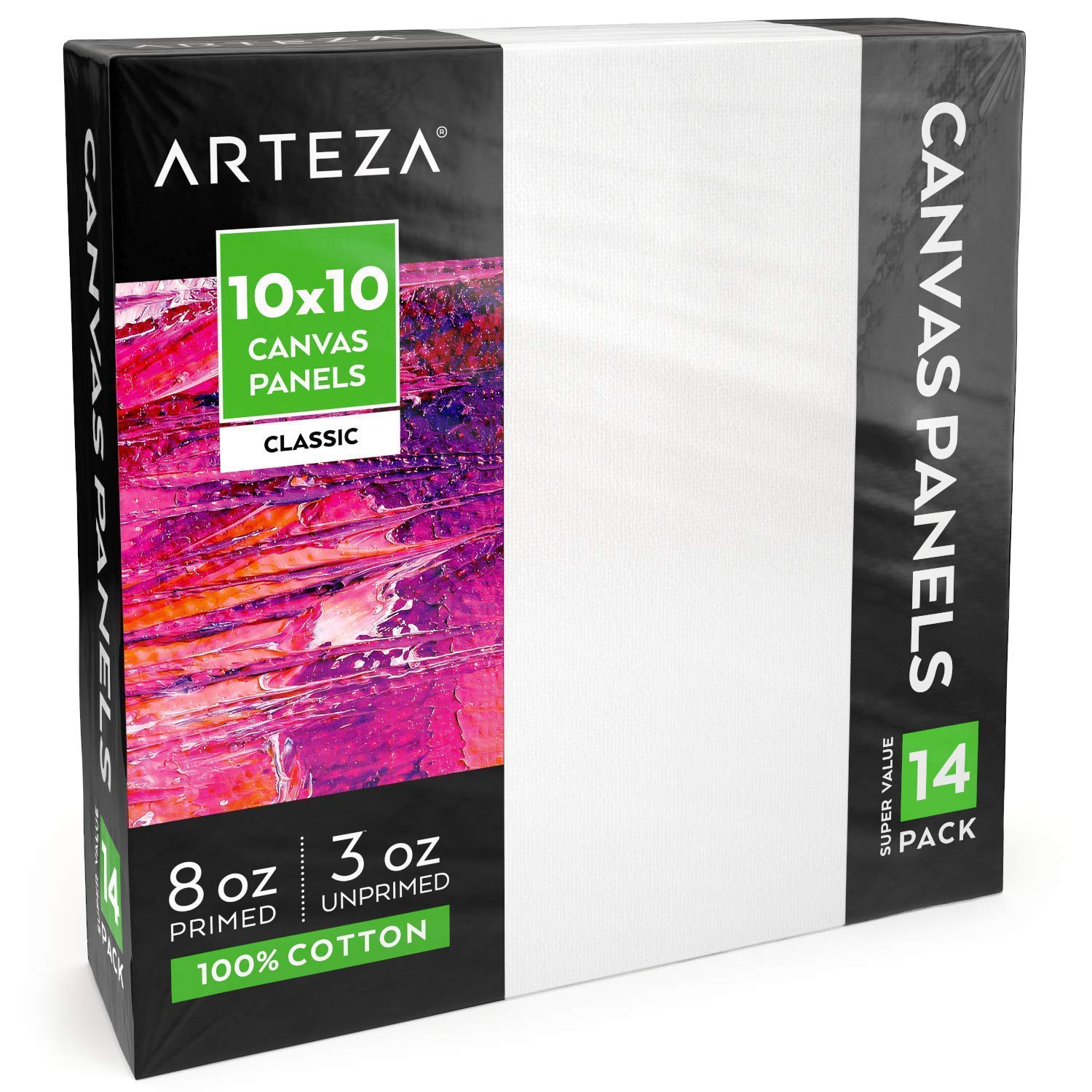 Arteza Painting Canvas Panels, 10x10, Pack of 14, Primed White, 100% Cotton with Recycled Board Core, for Acrylic, Oil, Other Wet Or Dry Art Media, for Artists, Hobby Painters, Kids