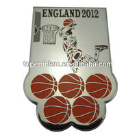 New style cloisonne basketball england metal lapel pin