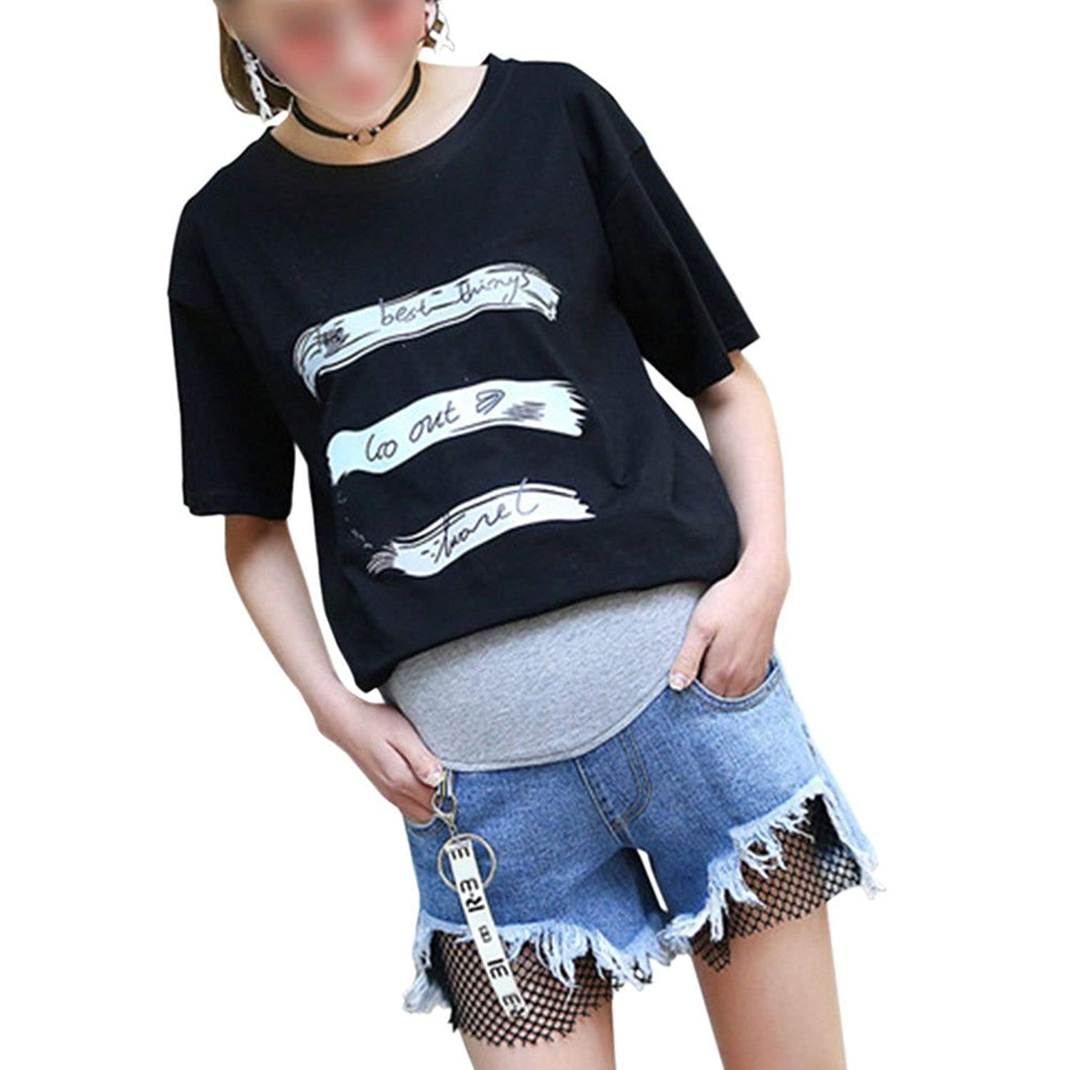 1b244dbfd8587 Get Quotations · Xinvision Women Pregnant Comfy Casual Jeans Shorts Denim  Over Bump Ripped Blue