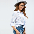 2018 Spring Cheap Women Clothing Casual Loose buttondown striped shirt