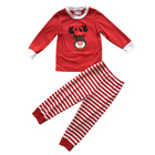 Long sleeve knit cotton Christmas baby outfits reindeer applique pajamas bulk designer clothing kids
