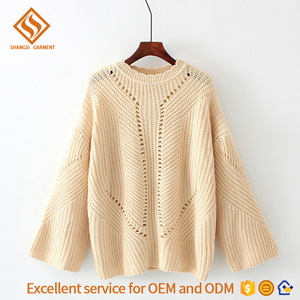 new design long sleeve round neck loose back tie hollow out nice cotton computer knitted sweater for women