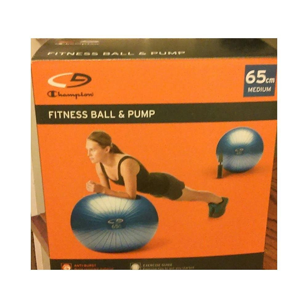 Champion Core Fitness Ball and Pump - 65cm - Medium - Blue