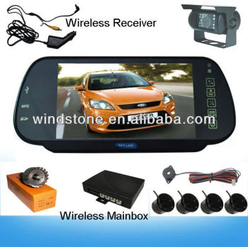 7 inch Bluetooth Handsfree Mirror Wireless Bus Camera System Parking