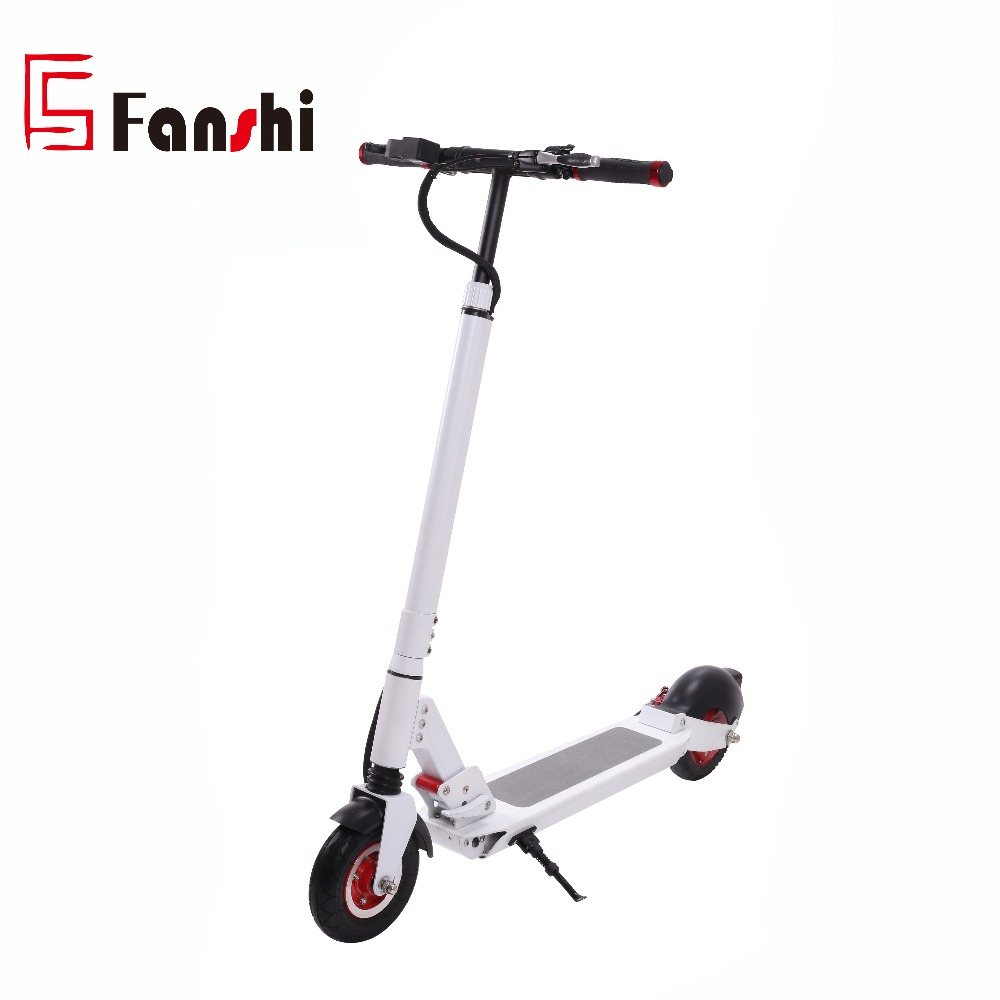 Adult 8inch White Aluminium Alloy Frame 2 Wheel Stand up Li-ion Battery Foldable Electric Scooter