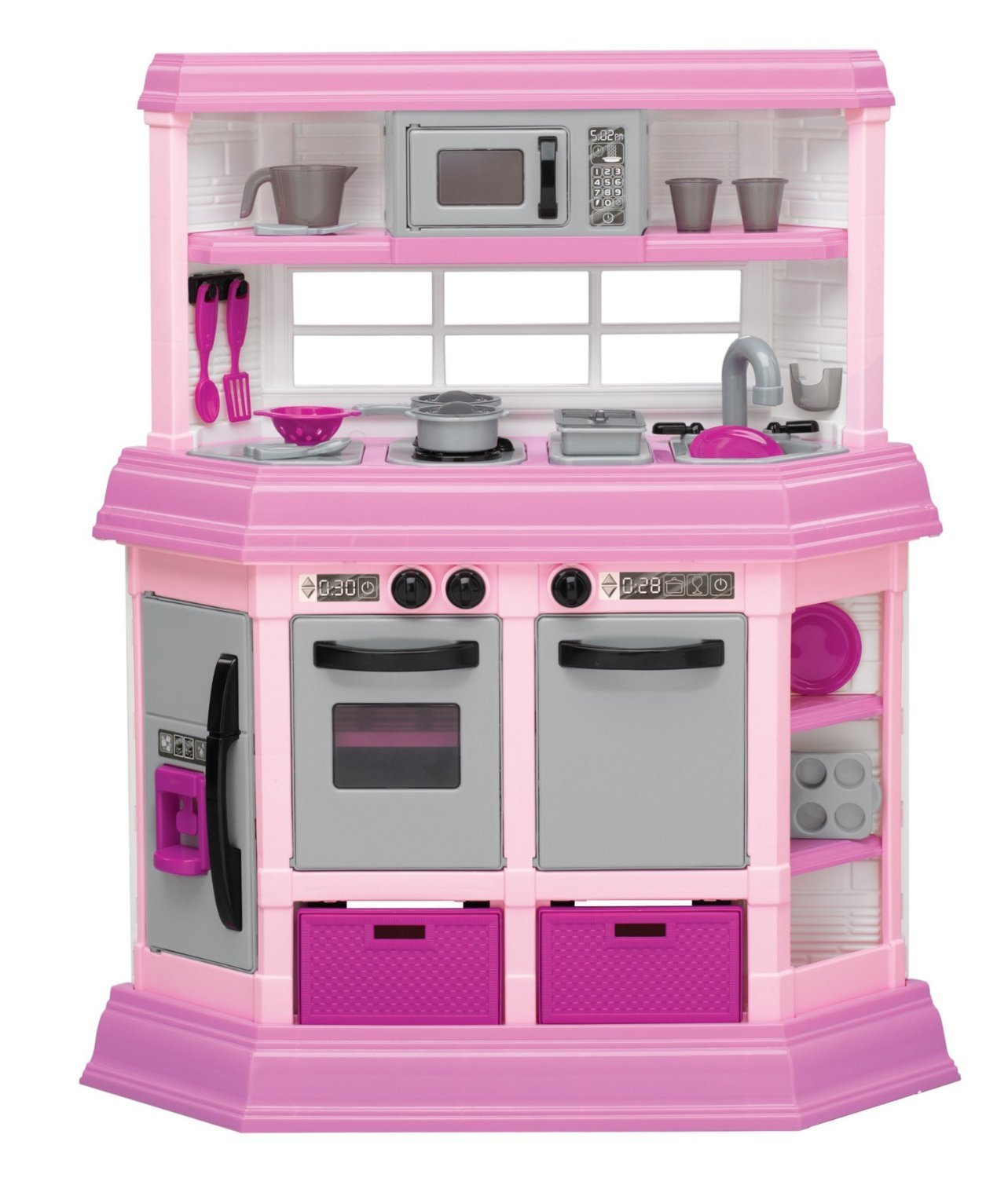 Get Quotations Pink Embled Toddler Kitchen With 22 Accessories