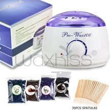 Popular 100g strip less elastic depilatory bean wax kit with wood sticks and wax warmer logo printed