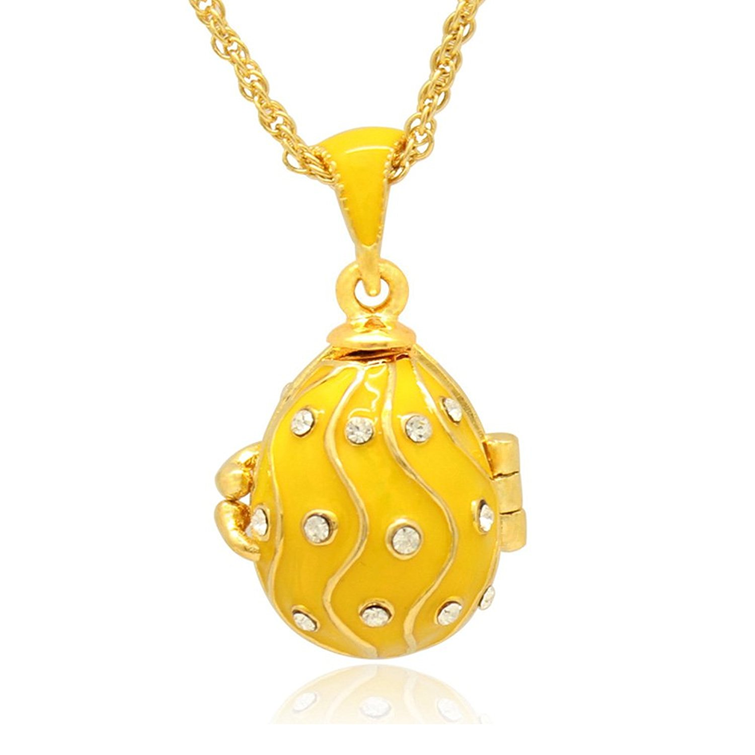 MYD Jewelry Gold Plated Filligree Enameled Clear Crystal Faberge Egg Locket Pendant Necklace