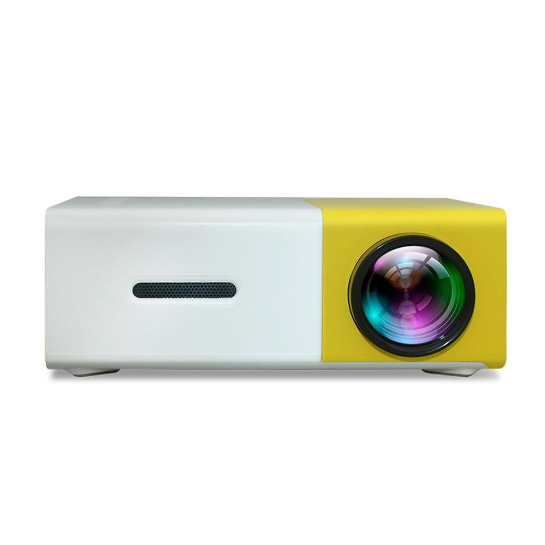Quartly YG300 Mini LED Home Theater Cinema projector DVDs Portable Mini Projector Portable & Remote (Yellow)