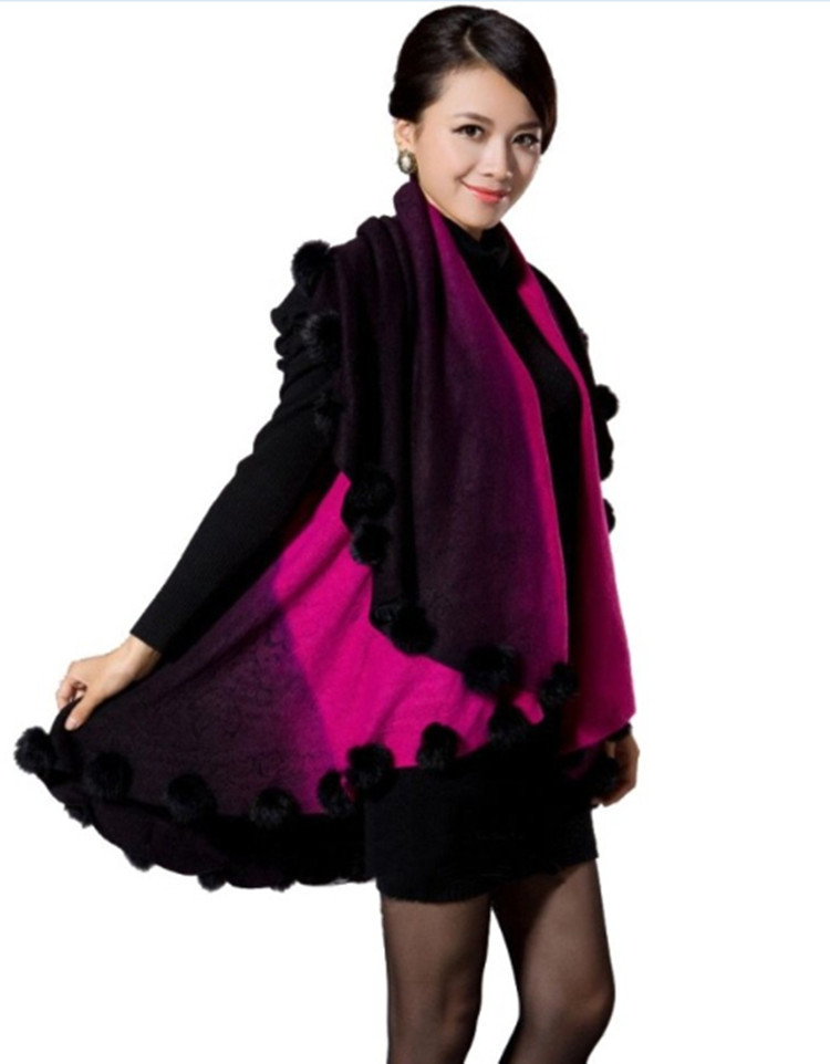 Genuine rabbit fur ball 2015 new fashion women shawl poncho cape fur shawl wholesale retail Free shipping MC-QD-06