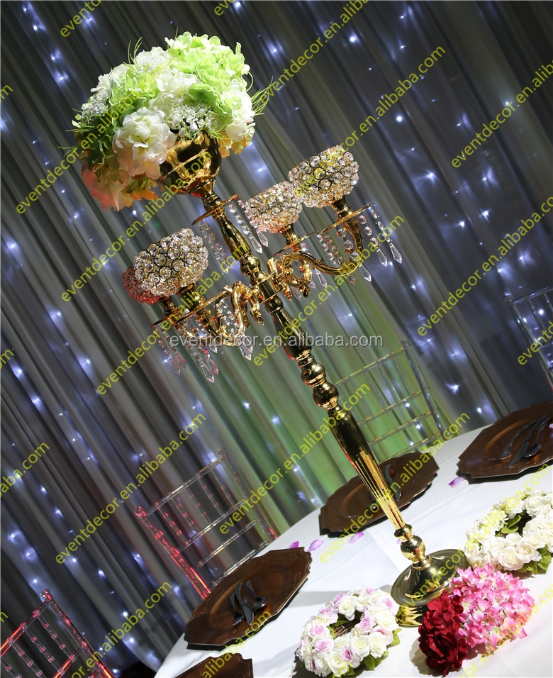crystal gold candelabra centerpieces with flower bowl /crystal candelabra for wedding decor