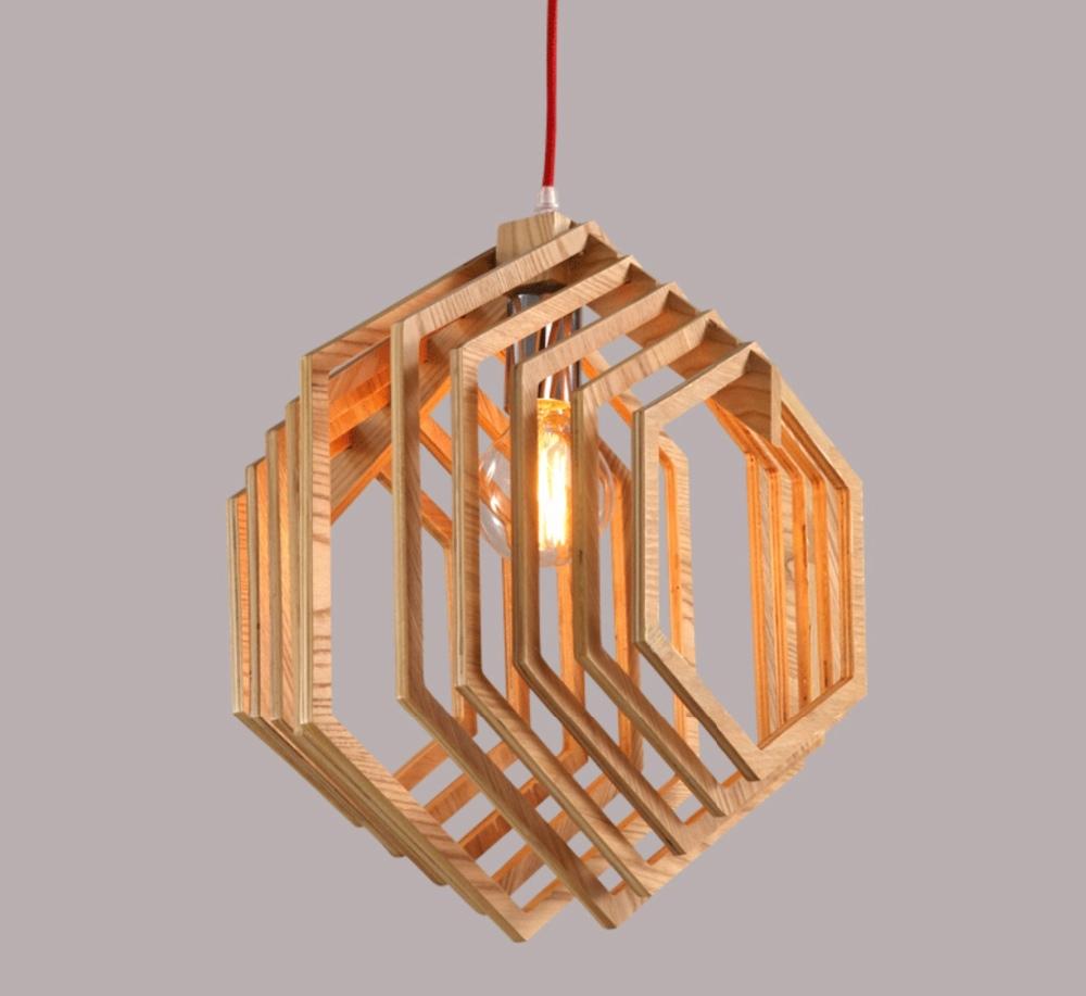 Nordic creatieve korte houten hanger lampen zeshoekige vorm ...