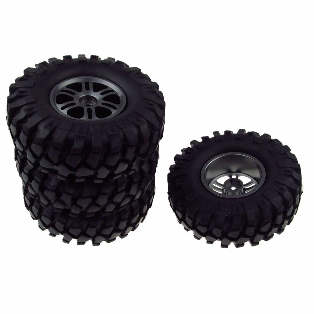 JIUWU 4PCS 1/10 Scale Racing Climbing 108mm RC Car Tyre Tires & Aluminum Wheels 12 Spoke Grey