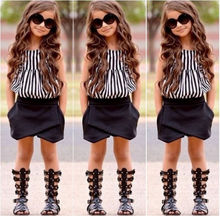 Hot Baby Kids Girls Summer Striped Tops Blouse Black Bloomers Shorts Outfits set