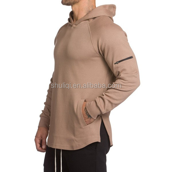 Gym Fitted Longline Hoodie Mens Curved Hem Lightweight Body Fit Gym Tops Cotton Spandex Hoodies