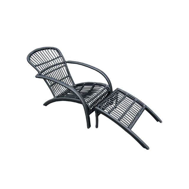 Rattan outdoor wicker garden recliner lounge chair