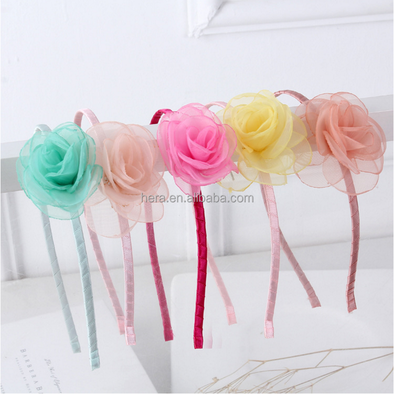 Fashion Children Girls yarn rose flower Headbands Baby Cute headband oem