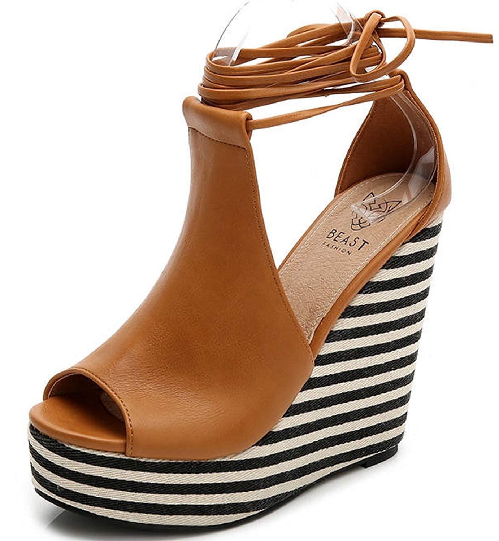 06d9bf2cfeb Get Quotations · Beast Fashion Mahra-01 Peep Toe Lace-Up Striped Platform  Wedge Sandal