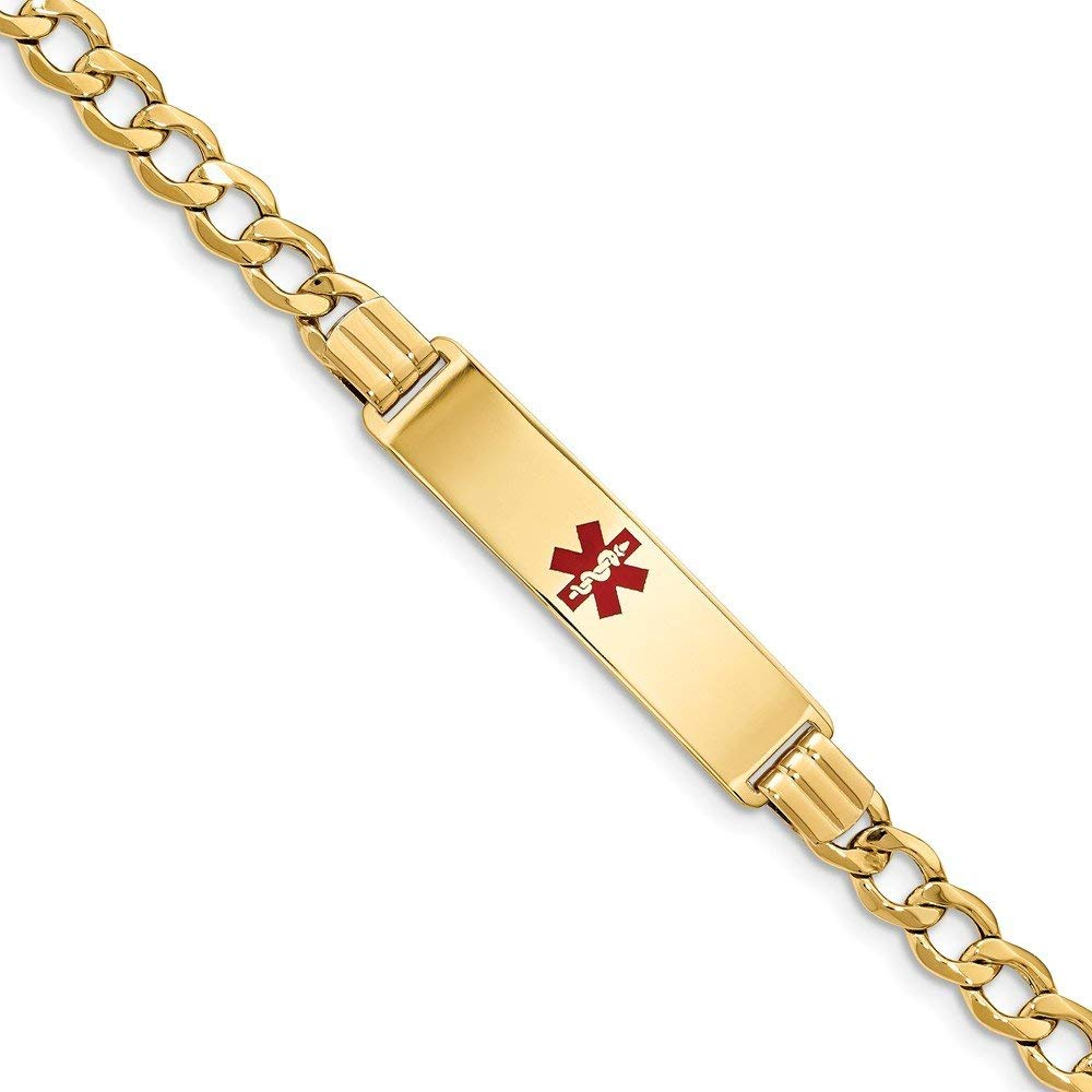 Perfect Jewelry Gift 14K Medical Red Enamel Semi-solid Curb Link ID Bracelet